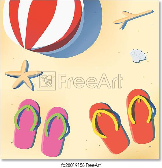 photograph relating to Have a Ball This Summer Printable named No cost artwork print of Summertime seaside with sandal and seashore ball
